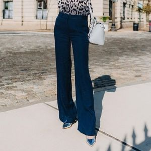 Theory Denim Tab Front Wide Leg Flare Trousers